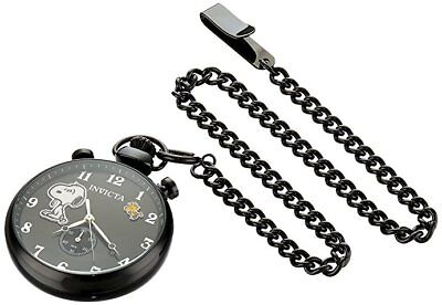 New Invicta 24799 Snoopy Character Collection Black Pocket Watch