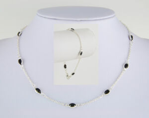 Sterling Silver Ep simulated Black Onyx Navette Necklace & Bracelet Set