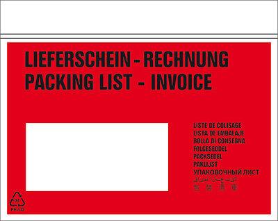 1000 Stück Lieferscheintaschen - Begleitpapiertaschen - DIN lang NEU