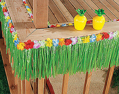2x Green Grass Table Skirt Fringe Luau Party Decor Hawaiian Beach Flower 24Ft  - Hawaiian Table Skirt