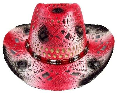 Cow Boy - Cow Girl -  Rodeo- Western Straw Hats Red Color   (CowBg21 ^)](Cow Girl Hats)