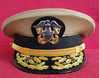 Us Navy Admiral Khaki Combination Hat - Admiral Hats