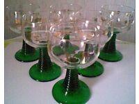 Set of 6 Vintage Green Stemmed Wine Glasses by Luminarc