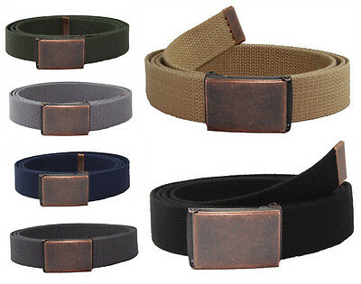 New JAEGER CUSTOMS DISTRESSED Flip Top Rust Buckle Canvas Military Web Golf Belt