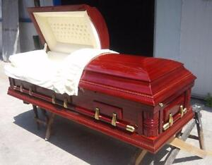 NEW SOLID WOOD (POPLAR) CASKET COFFIN WITH MAHOGANY FINISH