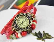VINTAGE BRACELET WOMEN WRIST WATCH WITH ANGEL PENDANT- RED