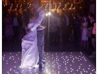 White LED Starlit Dance floor / MR & MRS sign letters / Wedding DJ / Mobile Disco