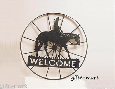 Art Welcome Sign - WELCOME sign Star HORSESHOE country western cowboy horse METAL Wall art outdoor