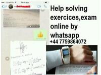 Help solving exercices online by whatsapp ,assignment,math chemical,physics and more,final exam,TEST