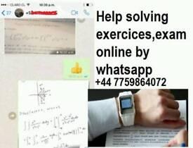 we solve tasks, exams, tests work by whatsapp, mathematics, chemical physics, statistics,