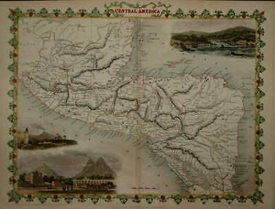 CENTRAL AMERICA BY JOHN TALLIS 1850