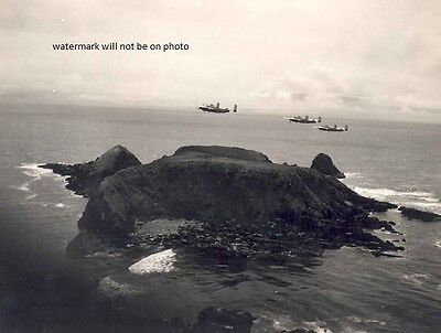 """B-25 Mitchell Bomber over island in South Pacific 8""""x10"""" World War II Photo #112"""
