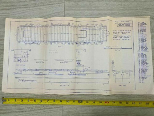 "Vintage Ships Blueprint WW2 Escort Carrier CVE 55 USS Casablanca 12""x23"""