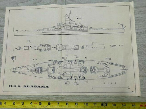 "Vintage Ships Plan Battleship USS Alabama BB60 11""x16"""