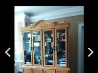 Oak glass display hutch with light