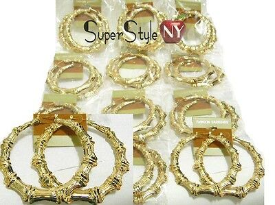 "2.75"" W Size 1Dz Lot of 12 Bamboo Hoop Circle Design Wholesale Earrings"