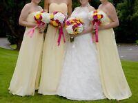 Three yellow bridesmaid dress party wedding
