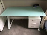 DESK - GLASS TOP WITH WOODEN STAND AND THREE DRAWER CABINET - JOHN LEWIS