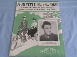 """A BICYCLE BUILT FOR TWO ( """"Daisy Bell"""") SHEET MUSIC"""