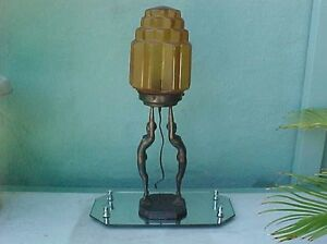 Original Art Deco 1927 FRANKART Two Nude Ladies Lamp w