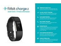 Brand New Fitbit Charge 2 Heart Rate and Fitness Tracking Wristband, 1 Black & 1 Blue.Retail £119.99