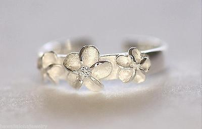 5mm Silver Hawaiian Plumeria Flowers Clear CZ Toe Ring