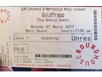 Goldfrapp 27/3 Roundhouse 1 ticket Face Value