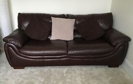 Brown leather 2-three seater sofa & 1 armchair