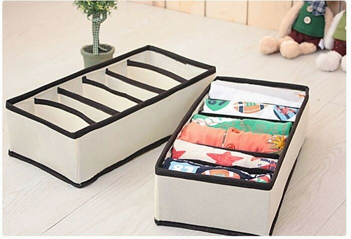 2pcs Organizer Box Underwear Storage Socks Ties Closet Divider Box - 6cell
