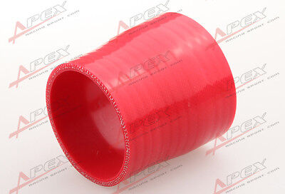 """3Ply 1.75/"""" To 1.5/'/' inch Straight Reducer 76.2mm Silicone Hose Coupler Pipe Red"""