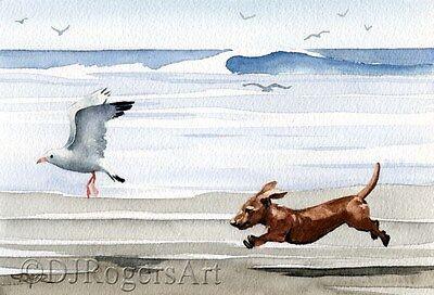 DACHSHUND BEACH Watercolor Dog 8 x 10 ART Print by Artist DJR
