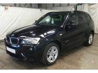 Black BMW X3 2.0TD Auto 2013 xDrive20d M Sport FROM £72 PER WEEK!