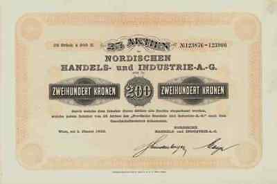Nordische Handels Industrie AG 1922 Wien 5000 Kronen Gewinnanteile Finnland