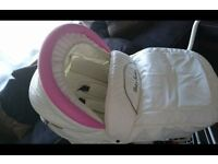 Baby Fashion Pink and White Wicker Pram