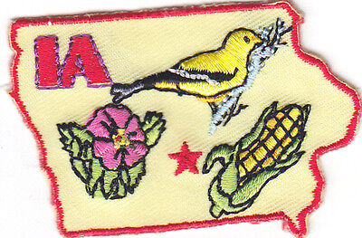 Ia    Iowa State Shape   Iron On Embroidered Applique Patch