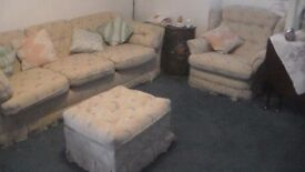 4 piece suite. 2 and 3 seaters, single chair and footstool.