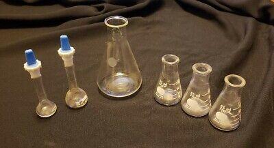 Vintage Erlenmeyer Volumetric Chemistry Laboratory Flasks Lot Of 6