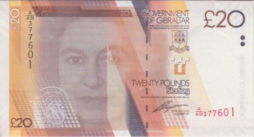 Gibraltar Banknote P37 20 Pounds 1.1.2011 Prefix A/AB, UNC