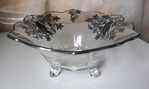 Silver Overlay Fruit Bowl (Floral and Birds)