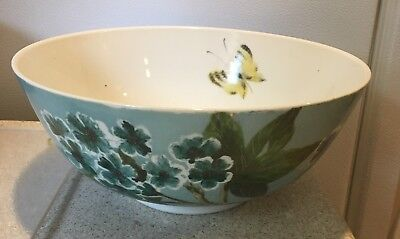 """Vintage floral butterfly Gold Trim 9"""" footed bowl turquoise blue signed Hardy"""