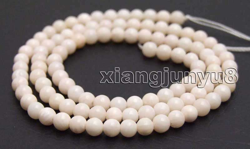 """3-4mm White Round Natural Coral Beads for Jewelry Making DIY Strand 15"""" los605"""