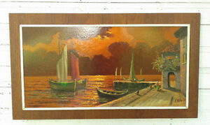 Mid Century Modern Oil on Board Painting, With a Teak Frame