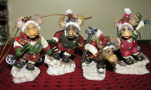 Hanging Christmas Tree Ornaments Skiing Moose Figurines 4PC Set