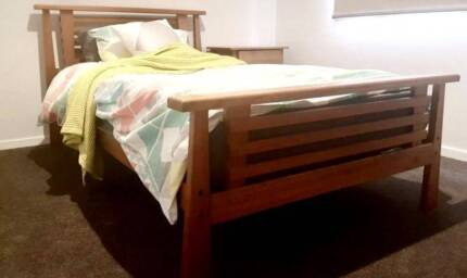 QUALITY Solid Oak Single bed +Mattress +side table + desk deliver