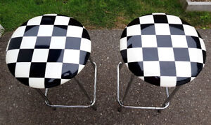 Set of retro bar stools, chrome with checkered padded seats