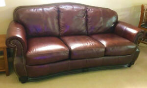 Top Grain Classic Leather Couch For Sale, Delivery Available