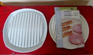 2x Nordic Ware assiettes pour M/O Bacon dishes for mircowave