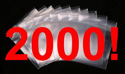 2000 - 2 X 3 Zip Lock 2x3 Resealable Plastic Bags 2 Mil Reclosable Poly Clear