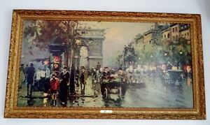 Old Vintage CHAMPS ELYSEES Print Painting GOLD Frame Antique