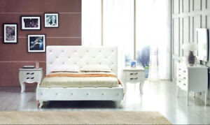 WHITE LACQUER FINNISH LEATHER  BED CRAZY SALE- ONLY$1799